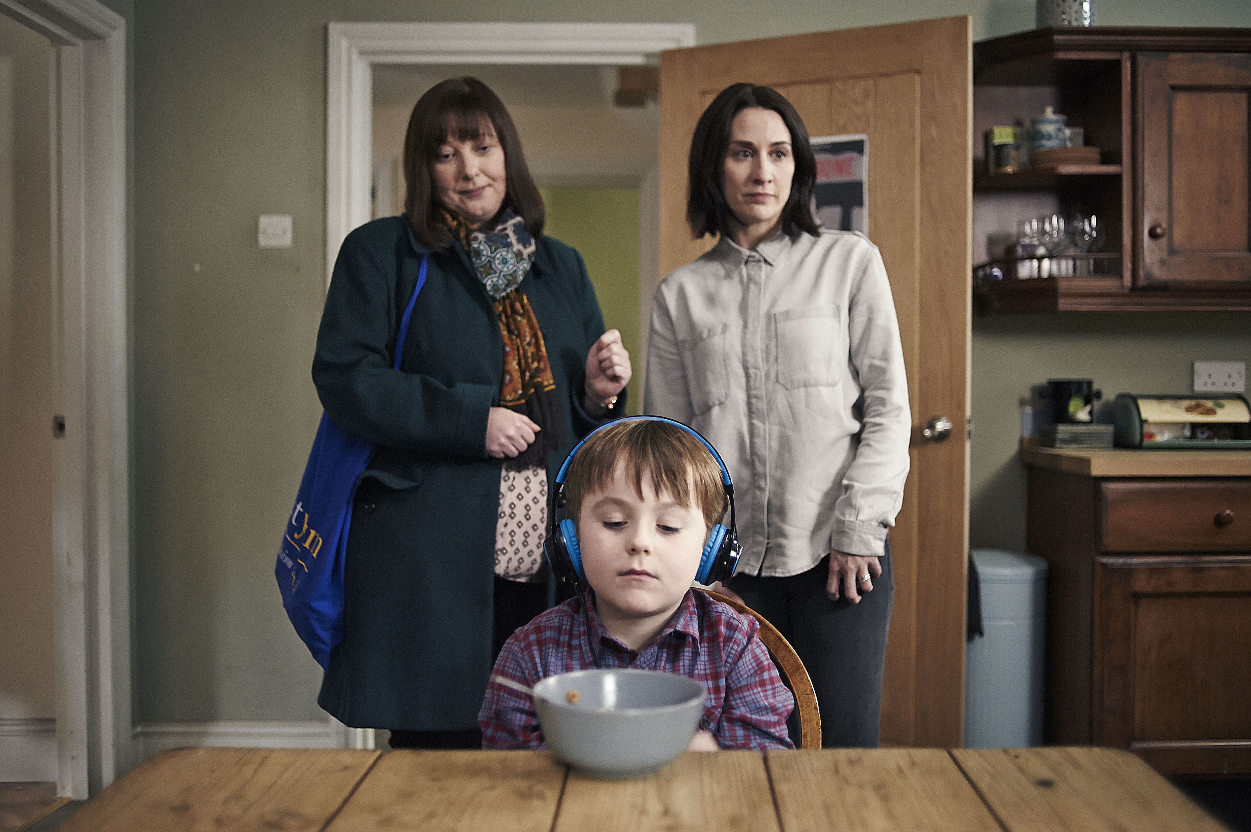 Programme Name: The A Word - TX: 05/04/2016 - Episode: n/a (No. n/a) - Picture Shows:  Maggie White (LISA MILLETT), Joe Hughes (MAX VENTO), Alison Hughes (MORVEN CHRISTIE) - (C) FIfty Fathoms - Photographer: Rory Mulvey