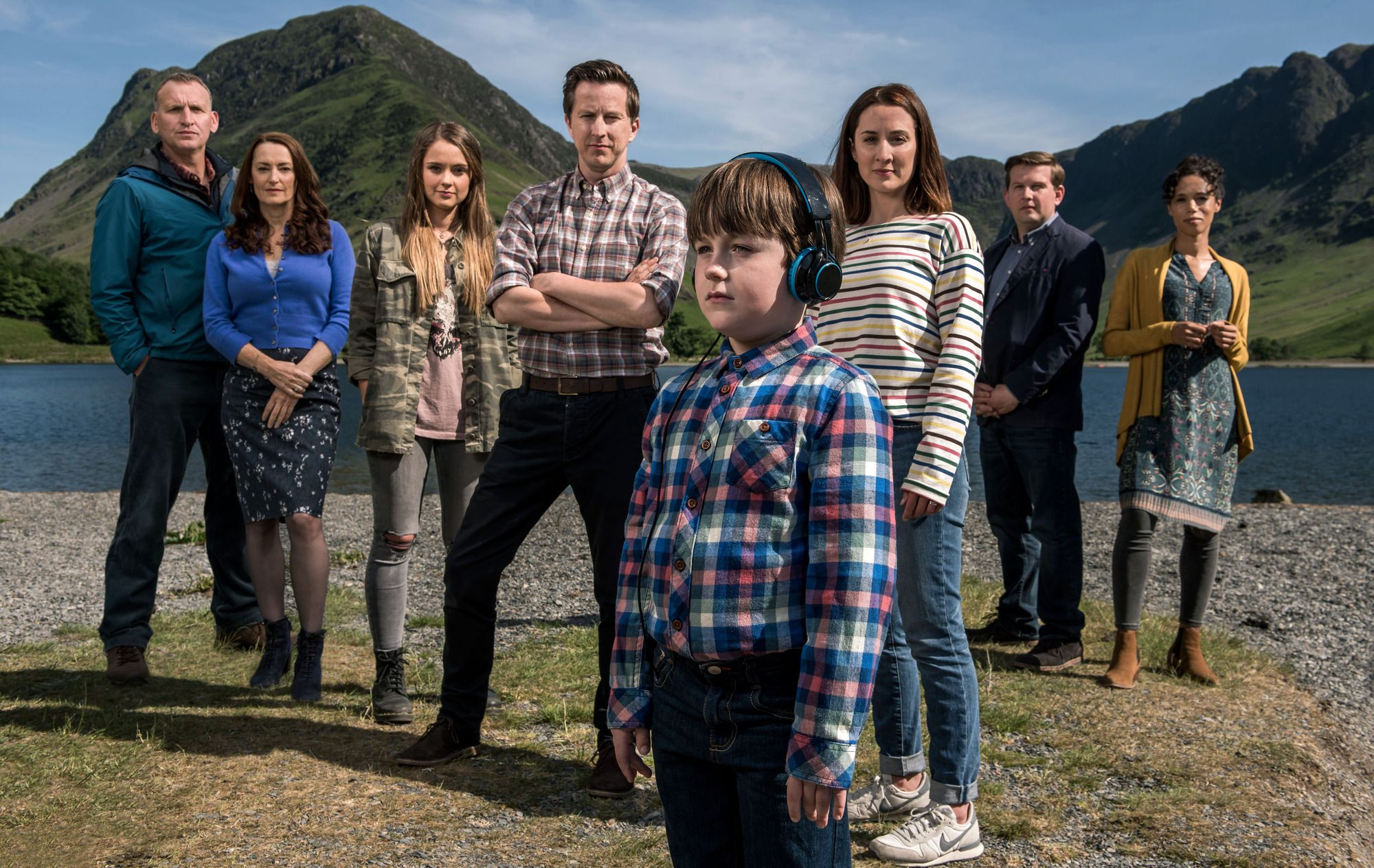 Programme Name: The A word S2 - TX: n/a - Episode: n/a (No. n/a) - Picture Shows:  Maurice Scott (CHRISTOPHER ECCLESTON), Louise Wilson (POOKY QUESNEL), Rebecca Hughes (MOLLY WRIGHT), Paul Hughes (LEE INGLEBY), Joe Hughes (MAX VENTO), Alison Hughes (MORVEN CHRISTIE), Edwin (Eddie) Scott (GREG MCHUGH), Nicola Daniels (VINETTE ROBINSON) - (C) Fifty Fathoms - Photographer: various